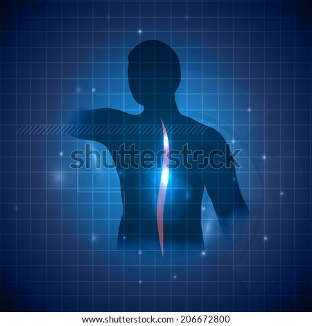Human spine, backache healing concept. Deep blue color with light shades, vertebral column color is lighter and with little shine. - stock vector