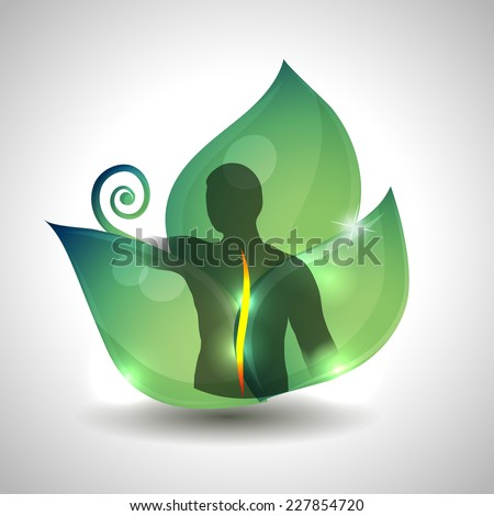 Human spine health care, Human spine silhouette and green leaf at the background. - stock vector