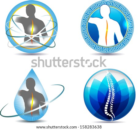 Human spine, vertebral column health care design. Abstract medical symbols. - stock vector