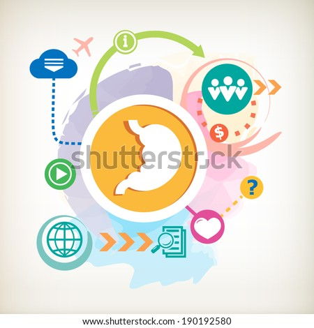 Human stomach symbol and cloud on abstract colorful watercolor background with different icon and elements. Design for the print, advertising. - stock vector