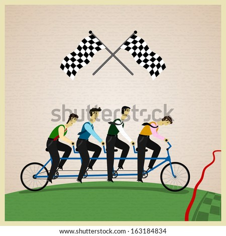 Human teamwork - Leader of competition. Vector illustration - stock vector