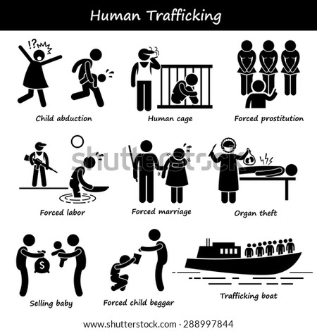 Human Trafficking Stick Figure Pictogram Icons - stock vector