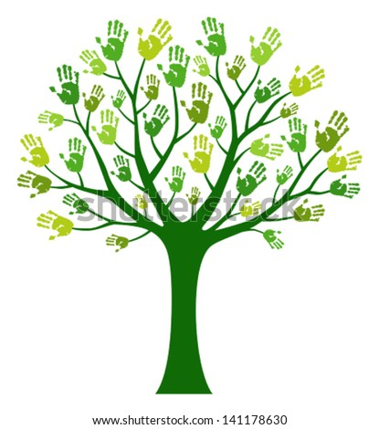 Human tree with  hand prints - stock vector