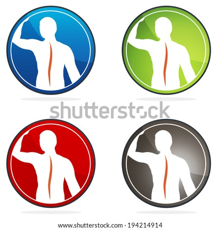 Human vertebral column health sign collection, colorful designs. - stock vector