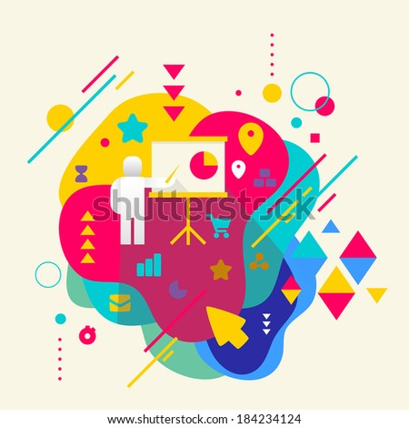 Human with a pointer on abstract colorful spotted background with different elements. Flat design. - stock vector
