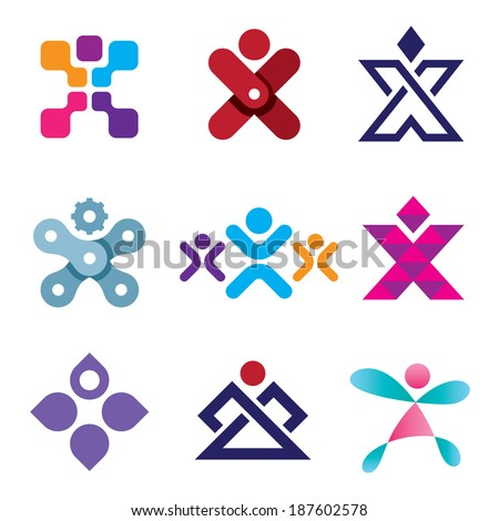 Human X shape latter creativity design logo icon set - stock vector