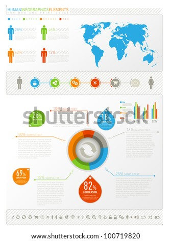 Humane infogeaphics elements for web and print usage - stock vector