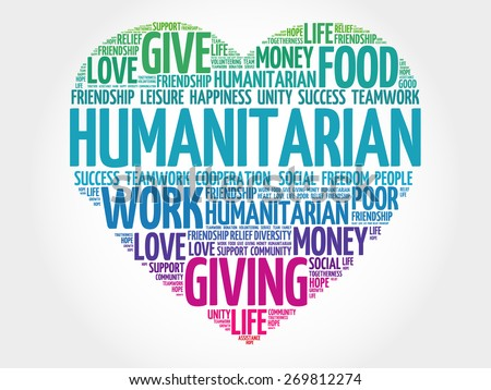Humanitarian word cloud, heart concept - stock vector
