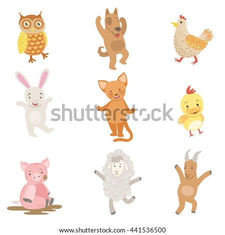 Humanized Animals Collection Of Artistic Funny Stickers - stock vector