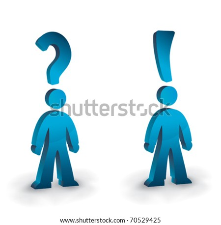 humanoid figures with question and exclamation marks for heads - stock vector