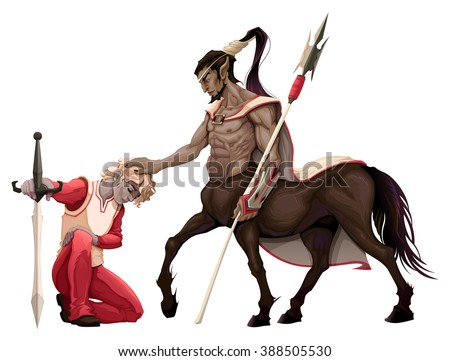 Humility. The prince with the centaur. Vector illustration, isolated objects. - stock vector
