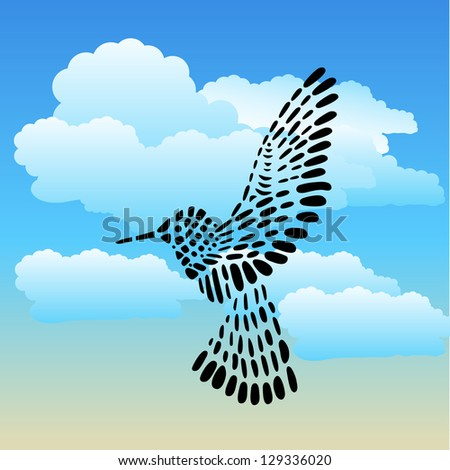 Humming bird on a cloudy day - stock vector