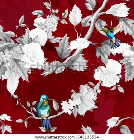 Humming bird, roses, peony with leaves on deep rich red. Watercolor. Seamless background pattern. Vector - stock.