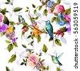 humming bird  roses  peony with ...