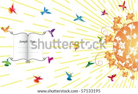 Humming-birds fly to the flowers