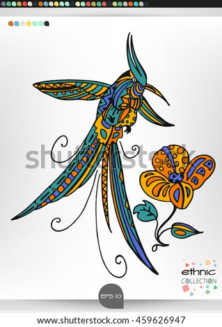 Hummingbird. Animal patterns with hand-drawn doodle waves and lines. Vector illustration in bright colors.