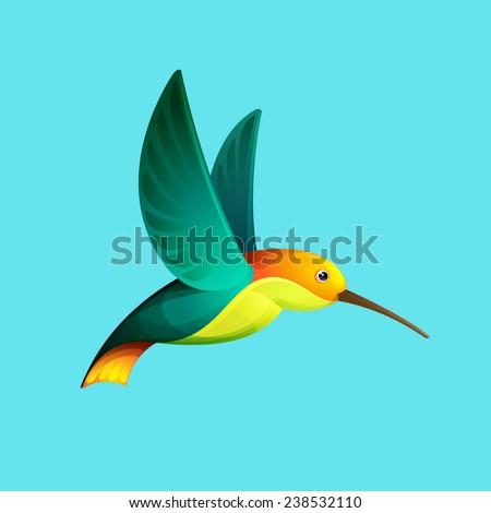 Hummingbird character for logo - stock vector