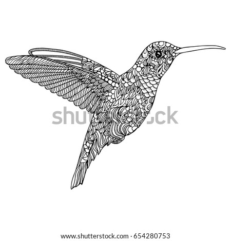Hummingbird Coloring Page Stock Vector 654280753 - Shutterstock