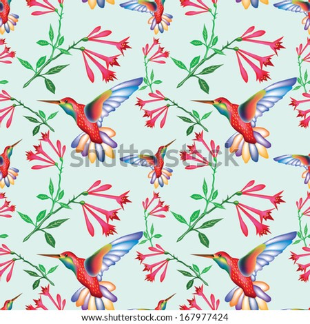 Hummingbird seamless pattern