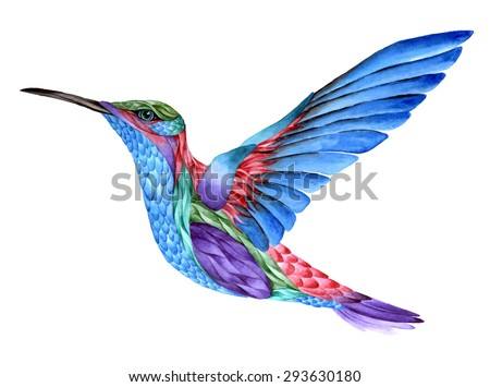 Hummingbird Tattoo Watercolor Painting Isolated On Stock Vector HD ...