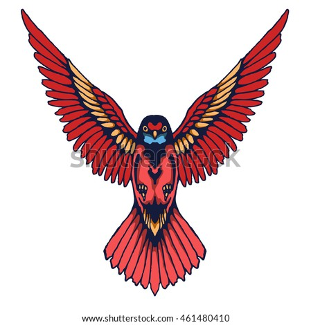hummingbird vintage tattoo design elements in vector format