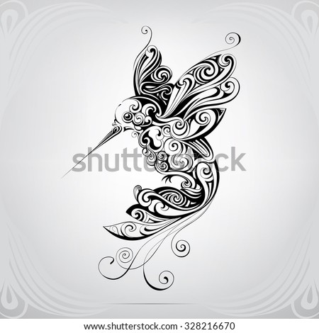 Hummingbirds in the ornament - stock vector