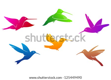 Hummingbirds symbols set with color plumage isolated on white background, such as idea of logo. Jpeg version also available in gallery