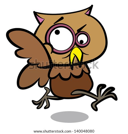 humor cartoon owl running with white background.