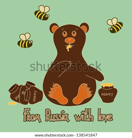 Humorous cartoon background with bear eating honey and bees