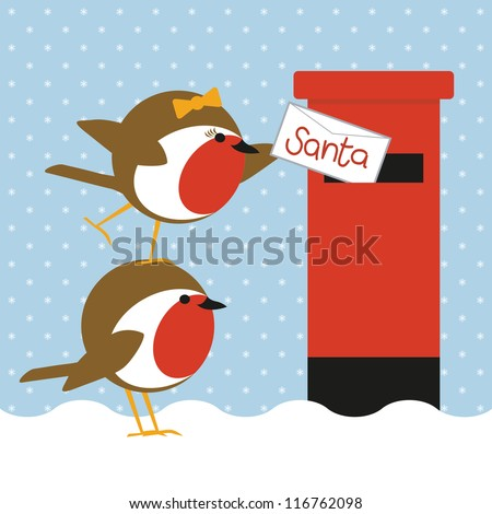 humorous christmas card with cute robins posting a letter to santa - stock vector