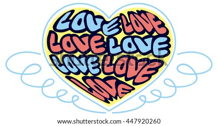 """Humorous emblem with word """"love"""". Original custom hand lettering. Design element for greeting cards, invitations, prints. Vector clip art. - stock vector"""