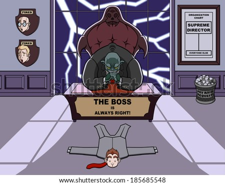 Humorous illustration about a monstrous and bad boss. - stock vector