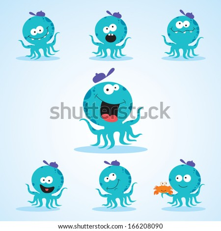 Humorous octopus. Vector illustration of octopus in funny expression. - stock vector