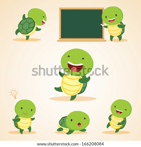 Humorous turtles. Vector illustration of turtles in different expressions. - stock vector