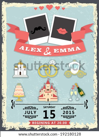 Humorous wedding invitation with photo template for groom and bride in Retro style with vignettes,ribbon,save the date and wedding icons.Wedding invitation design template.The vector. - stock vector