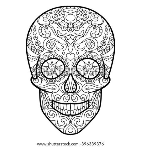 hunan skull coloring book for adults vector illustration anti stress coloring for adult