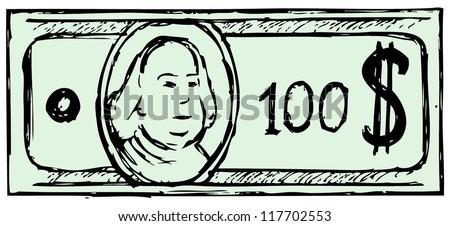 hundred dollar bill doodle style stock vector 117702553 shutterstock rh shutterstock com canadian 100 dollar bill vector