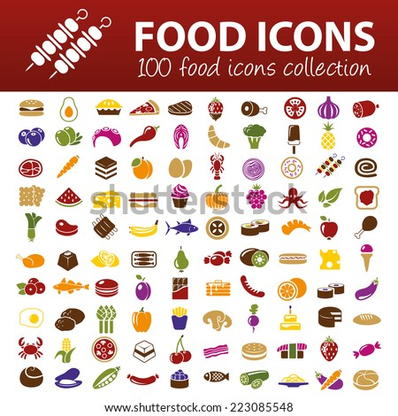 hundred food icons - stock vector