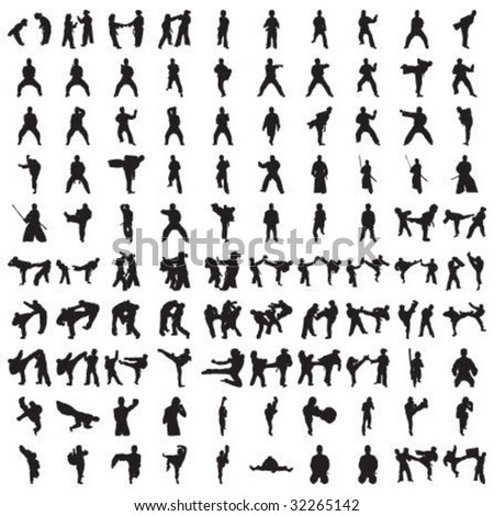 Hundred Karate Silhouettes