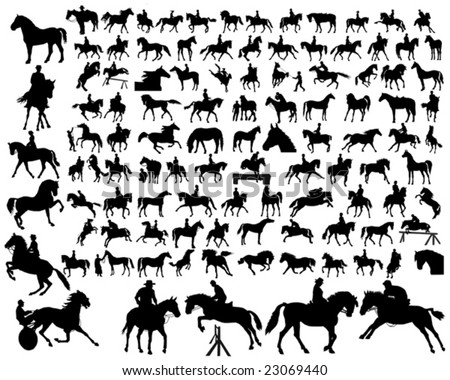 Hundred of horse siluetas in different poses - stock vector