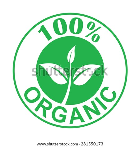 Hundred percen Organic symbol green color, vector