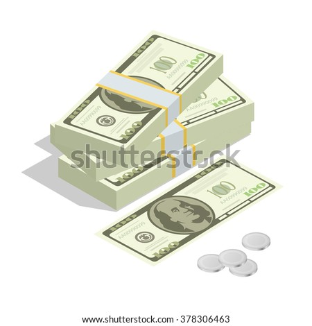 Hundreds of dollars. Stacked pile of cash. Stack of US Dollars on white background. Flat 3d isometric vector illustration.