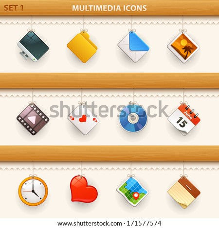 hung icons - set 1 - stock vector