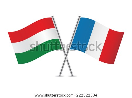 Hungarian and French flags. Vector illustration. - stock vector