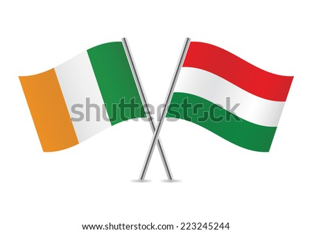 Hungarian and Irish flags. Vector illustration.