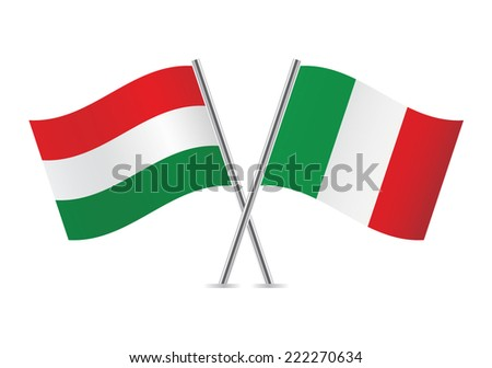 Hungarian and Italian flags. Vector illustration.