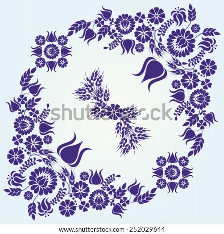 Hungarian blue floral folk pattern - vector illustration. - stock vector