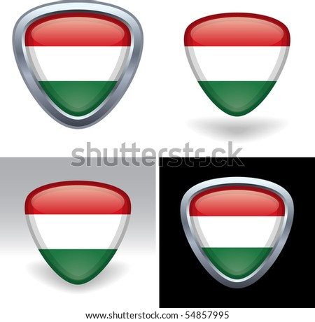 Hungarian Flag Crest - stock vector