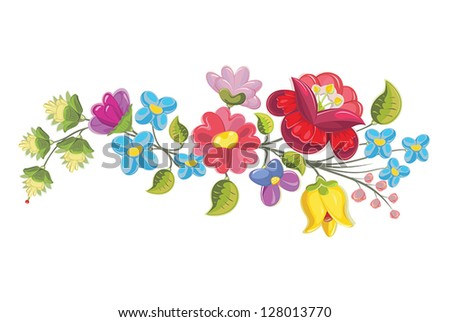 Hungarian folk kalocsai floral ornament motif element (vector) - stock vector