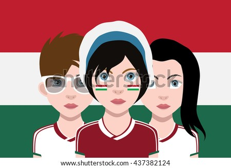 Hungarian Football fans - stock vector